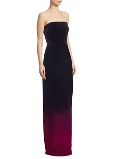 Monique Lhuillier Strapless Velvet Column Gown