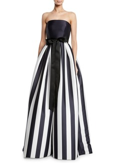Monique Lhuillier Striped Mikado Bow-Waist Strapless Ball Gown with Full Skirt