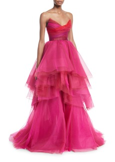 Monique Lhuillier Sweetheart Strapless Asymmetric Gown