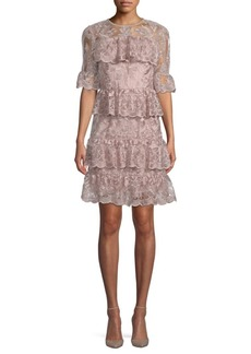 Monique Lhuillier Tiered Embellished Bell-Sleeve Dress