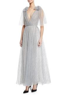 Monique Lhuillier V-Neck Bow-Shoulder Pleated Dot Tulle Gown