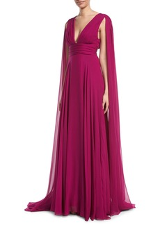 Monique Lhuillier V-Neck Shoulder-Streamers Draped Silk Chiffon Evening Gown