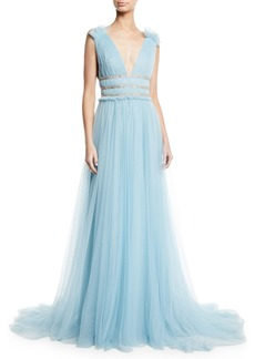 Monique Lhuillier V-Neck Sleeveless Shirred Soft Tulle Evening Gown