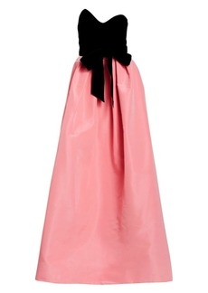 Monique Lhuillier Velvet Bodice Silk Skirted Ball Gown