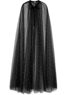 Monique Lhuillier Velvet-trimmed Faux Pearl-embellished Tulle Cape