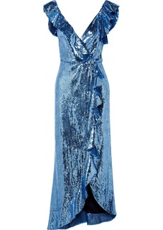 Monique Lhuillier Wrap-effect Ruffled Sequined Crepe Midi Dress