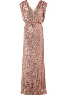 Monique Lhuillier Wrap-effect Sequined Stretch-tulle Gown