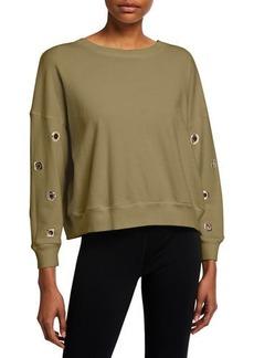 Monrow Boxy Sweatshirt w/ Eyelets