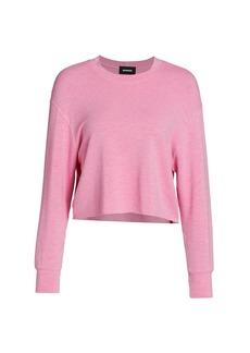 Monrow Boyfriend Raw-Edge Hem Sweatshirt