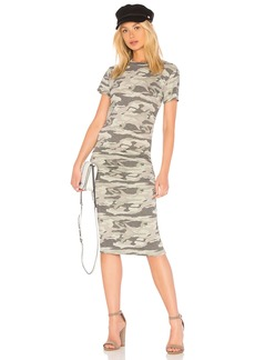 Monrow Camo Crew Neck Shirred Dress