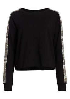Monrow Camo Stripe Cotton Sweatshirt