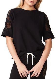 Monrow Crewneck Short-Sleeve Sweatshirt w/ Mesh Embroidered Insets
