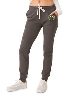 Monrow Girlfriend Drawstring Sweatpants with Embroidered Smiley Face