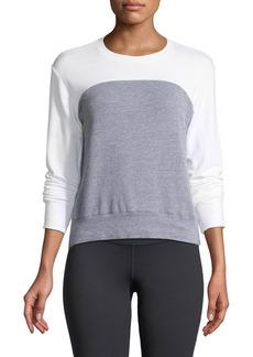 Monrow Heathered Colorblock Crewneck Sweatshirt Top