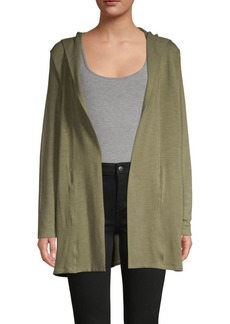 Monrow Hooded Open-Front Cardigan