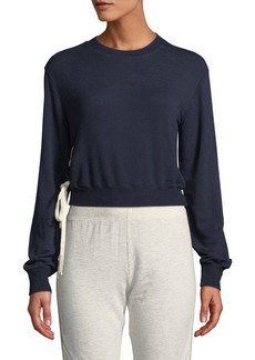 Monrow Lace-Up High-Neck Pullover Sweatshirt