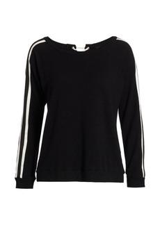 Monrow Lace-Up Striped Sweatshirt