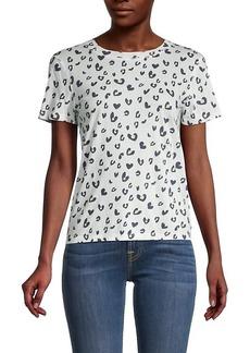 Monrow Leopard Print Cotton T-Shirt