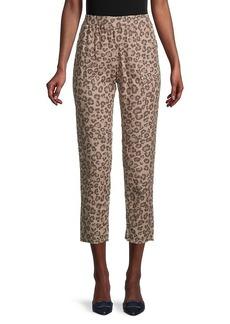 Monrow Leopard-Print Cropped Pants
