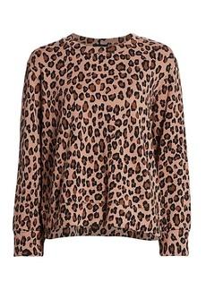 Monrow Leopard Print Oversized Sweatshirt