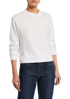 Monrow Long-Sleeve Crewneck Sweatshirt with Mesh Back