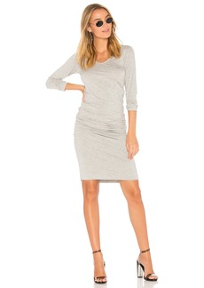 Monrow Long Sleeve Shirred Dress
