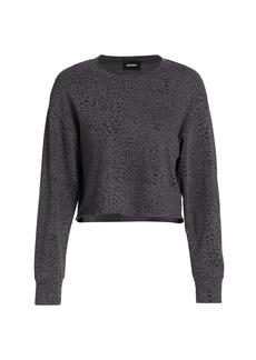 Monrow Mini Cheetah-Print Cutoff Boyfriend Sweatshirt