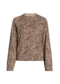 Monrow Mini Leopard Mockneck Sweatshirt