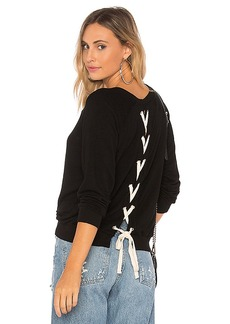 MONROW Athletic Lace Up Sweatshirt in Black. - size L (also in M,S)