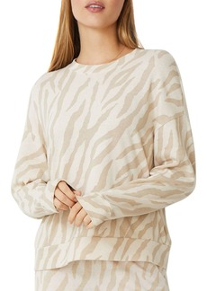 Monrow Boxy Zebra Print Sweatshirt