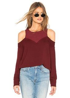 MONROW Cold Shoulder Double Layer Sweatshirt