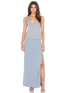 MONROW Deep V Maxi Dress