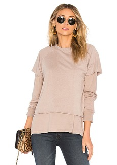 MONROW Double Layer Sweatshirt in Beige. - size M (also in S,XS)