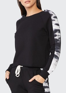Monrow Double-Layer Sweatshirt w/ Tie Dye Side Panels