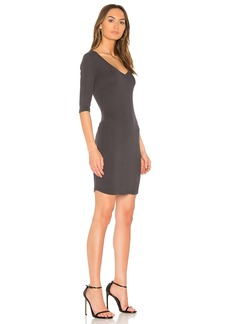 Monrow Double V Neck Rib Dress