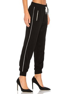 MONROW Elastic Waist Track Pants in Black. - size L (also in M,S,XS)