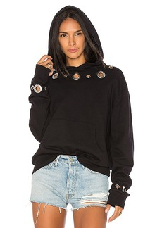 MONROW Grommet Hoody in Black. - size M (also in L,S,XS)