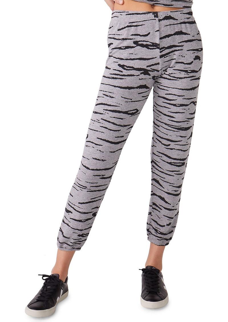 Monrow Heathered Tiger-Print Sweatpants
