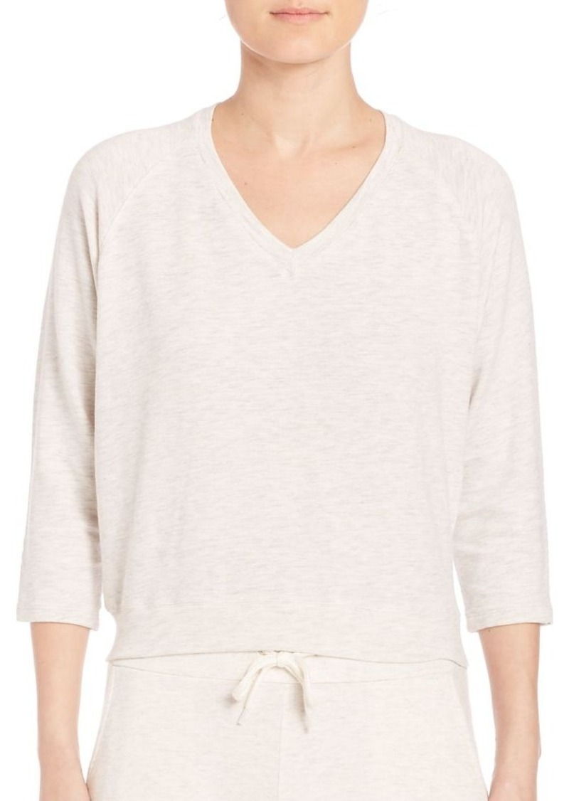 MONROW Heathered V-Neck Sweater