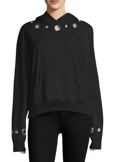 Monrow Hooded Eyelet Sweatshirt