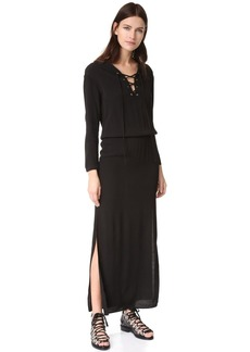 MONROW Lace Up Maxi Dress