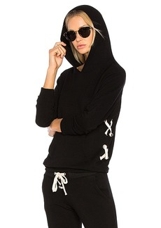 MONROW Lace Up Pullover Hoodie in Black. - size XS (also in M,S)