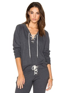 MONROW Lace Up Sweatshirt in Gray. - size XS (also in M,L)