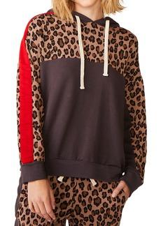 Monrow Leopard Print Block Pullover Hoodie Sweatshirt