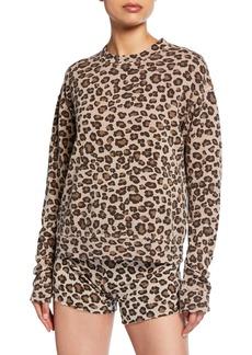Monrow Leopard-Print Seamed Sweatshirt