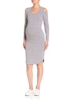 MONROW Maternity Heathered Cold-Shoulder Sheath Dress