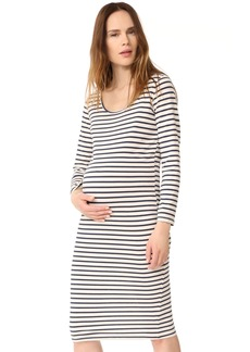 MONROW Maternity Stripe Long Sleeve Dress