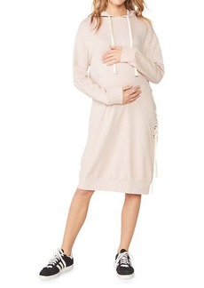 Monrow Maternity Super-Soft Hooded Lace-Up Dress