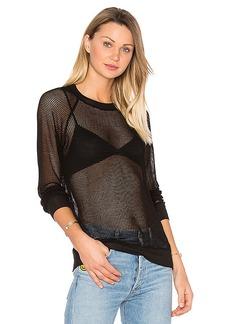 MONROW Mesh Sweatshirt in Black. - size L (also in S,XS)