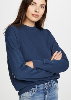 MONROW Mock Neck Seamed Sweatshirt